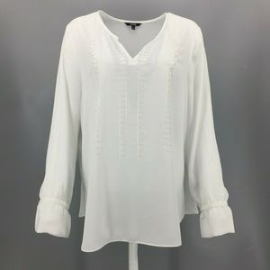 NYDJ  Semi-Sheer Peasant Blouse Size Large